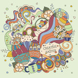 Stock  cartoon doodle easter pattern. card, brochure, post Stock Image