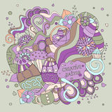 Stock  cartoon doodle easter pattern. card, brochure, post Royalty Free Stock Photo