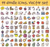 Vector doodle icons set. Stock cartoon signs for design royalty free illustration
