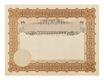 Stock Certificate Royalty Free Stock Photos