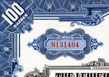 Stock Certificate Close-up.