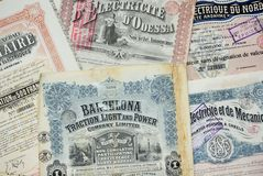 Stock Certificates. Collection of stock (share) certificates of electricity companies. Most of them issued in Belgium at the beginning of the 20th century stock photos