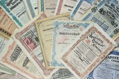 Stock Certificates. Collection of stock (share) certificates of railways, mining and electricity companies. Most of them issued in Belgium at the beginning of royalty free stock photos