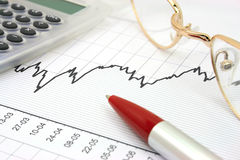 Stock chart. With calculator, red pen and eyeglasses Royalty Free Stock Photography