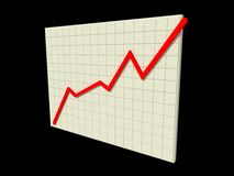 Stock chart. Rising in black background Royalty Free Stock Images