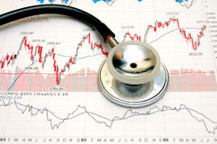 Stock chart analysis - concept. Stethoscope and stock chart - market analysis Stock Image