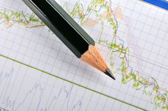 Stock Chart And Pencil Stock Image