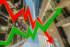 Stock chart on the background of real estate . The concept of price changes on the real estate market Stock Photos
