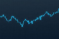 Stock chart on blue grid background. 3D illustration Stock Images