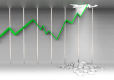 Stock chart break ceiling. Stock chart breaking ceiling show bullish stock market Stock Photos