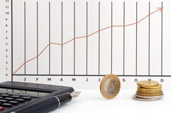 Stock chart, coin, pen and cal. Culator stock images