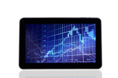 Stock Chart Diagram on Digital tablet PC Stock Images