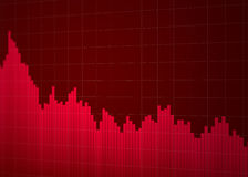 Stock chart down. Red abstract graphics about stock chart down Stock Photography