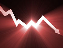 Stock chart down arrow line light flare. Market drop down trend line with pointing arrow glowing light flares. Stock diagram background Stock Photography