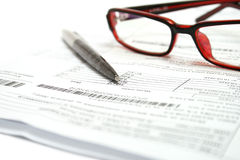Stock chart with glasses, pen. Royalty Free Stock Photos