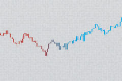 Stock chart on grayscale grid background. 3D illustration Stock Images