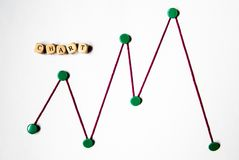 Chart with word chart. Stock chart with green pins and red string and the word chart in wooden chart stock images