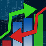 Stock Chart. Hossa and Bessa. Stock Chart red and green sign Stock Images