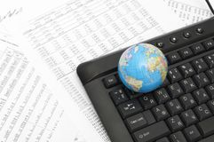 Stock chart and keyboard Stock Photos