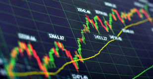 Stock chart. Open & close graph Stock Photography