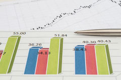 Stock chart with pen Royalty Free Stock Image