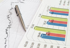 Stock chart with pen Royalty Free Stock Photos