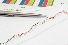 Stock chart with pen Stock Images