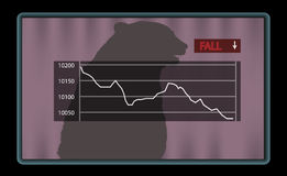 Stock chart with red fall indicator royalty free illustration