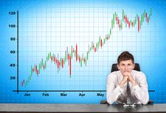 Stock chart  on screen. Businessman sitting at conference table and stock chart  on screen Stock Images