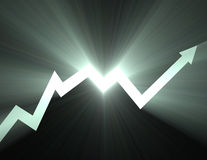 Stock chart Up arrow line light flare Stock Photography