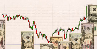 Stock chart and US money as background. view from above Stock Images
