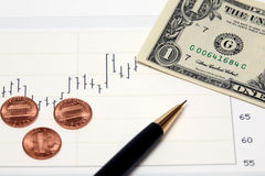Stock chart US money and new pennies Stock Photo