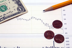 Stock chart US money and pennies Royalty Free Stock Photos