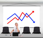 Stock chart on wall Royalty Free Stock Image
