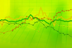 Stock charts computer diagram. Abstract green background of stock charts computer diagram Royalty Free Stock Images