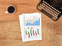 Stock charts on paper Royalty Free Stock Image