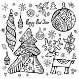 Stock christmas set with tree, boll, snowflakes. hand draw. Pattern illustration Stock Image