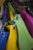 Stock of colored leather bags Stock Photo
