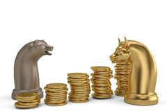 Stock concept bear and bull chess piece and gold coin stacks on stock photos