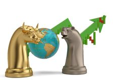 Stock concept bear and bull chess piece and stock chart on white stock illustration