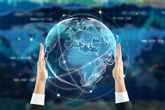 Stock concept. Businessman holding digital globe on forex background. Stock concept. 3D Rendering Royalty Free Stock Photos