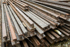Stock of corroded steel beam. Stock of corroded steel train rail beams Stock Photography