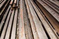 Stock of corroded steel beam. Stock of corroded steel train rail beams Stock Photo