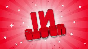 In Stock 3D Text on Falling Confetti Background. royalty free illustration