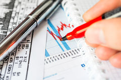 Stock Data Analysis, mark the red marker Royalty Free Stock Images