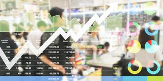 Stock data index analysis data shown investment on promotion eve. Nt shopping raise up with chart and graph background Stock Photos