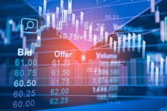 Stock data indicator analysis on financial market trade. Chart on LED. Concept Stock data trade. Digital financial trade analysis background. Double exposure Stock Photos