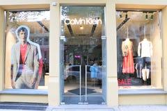 Stock de drapeau de la marque et du styliste célèbres Calvin Klein d'habillement images libres de droits