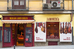 Stock de jambon espagnol au centre de Madrid Photo stock