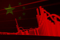 Stock Diagram with Flag of China Stock Image